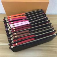 porte-monnaie pliant achat en gros de-Six couleurs Designer Wallet Letter flower Fold Double fermeture à glissière portefeuilles Designer en cuir véritable femmes Designer sacs à main sacs à main viennent avec BOX