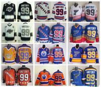 пустая хоккейная футболка оптовых-Хоккей 99 Уэйн Гретцки Джерси мужчины Рейнджерс Ла Кингс Ойлерс Сент-Луис Блюз Уэйн Гретцки Майки все звезды синий белый красный