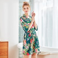Wholesale womens nightgowns short sleeves online – Floral Print Silk Dress Sleewear Womens Night Dress Nightgown Sexy Nightwear V Neck Clothes Spring Summer