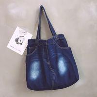 trendy tuval toptan çantalar toptan satış-Yeni sıcak stil mavi yıkanmış denim kanvas çanta tek omuz çantası moda ve trendy yönlü tote basit casual tuval
