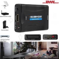 adaptador de áudio e vídeo rca venda por atacado-HDMI para Scart Conversor De Áudio De Vídeo MHL para Adaptador Scart para HD TV Sky Box STB DVD