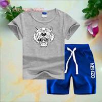 tigre pequeno venda por atacado-KNZO Tiger Crianças Pequenas Conjuntos 1-7 T Crianças T-shirt Calças Curtas 2 Pçs / sets Bebê Meninos Meninas 95% Algodão Tigre Estilo de Impressão Conjuntos de Verão