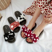 розовая обувь для польки оптовых-PXELENA Горошек Летние Тапочки Открытый Женщины Ткань Плоская Платформа Ежедневно Удобные Пляжные Горки Дамы Шлепанцы Сладкая Обувь