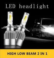 led h4 araba far ampulleri toptan satış-2PCS C6 9006 9012 9005 otomobil farları ampul 6000k 10000LM araba farları 12V 24V ışık led H1 H3 H4 H7 H11 led