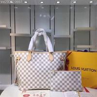 badminton tasche weiß großhandel-Flut L Brief NIE VOLL Lederhandtaschen Weiß-rosa Schachbrettmuster-Tasche Hochwertige Druckgeldbörse Damenmode Taschen Mädchen Einkaufstasche