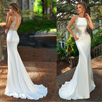 Wholesale mermaid strap rhinestone wedding dress for sale - Group buy 2019 White Sexy Mermaid Satin Backless Wedding Dresses Sheer Bodice Rhinestones Sleeveless Crystals Bridal Party Gown Vestido De Novia