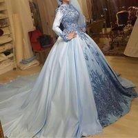 klassische spitze-abschlussballkleider großhandel-Classy Muslim Ballkleid formale Abendkleider mit langen Ärmeln Stehkragen 3D appliziert Satin Perlen Plus Size Überröcke Prom Party Kleider
