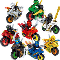 Wholesale mini brick figures for sale - Group buy 8pcs Phantom Ninja Tornado Motorcycle Chariot Vehicle Kai Garmadon Cole Ninja Mini Toy Figure Building Block Bricks With Swords Motor