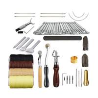 ingrosso utensili di lavoro in pelle mestiere-34PCS Leather Craft Tools Kit Carving Work Sella Cucito Cucitura Punch Leathercraft Accessori per la lavorazione della pelle mano fai da te