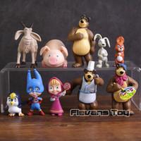 schwein kaninchen spielzeug großhandel-Mascha Bär Freunde Kaninchen Eichhörnchen Pinguin Ziege Schwein PVC Figuren Spielzeug 10 teile / satz