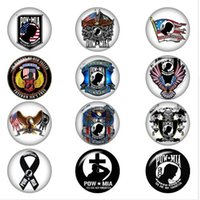 Wholesale diy cabochons resale online - POW MIA eagle US ARMY glass snap button jewelry DIY Round photo cabochons flat back DA1304 jewelry making DIY