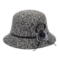 ingrosso fiori di lana-Cappelli di secchio di lana per le signore