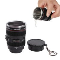 Wholesale portable wine glasses for sale - Group buy 50ml Mini DSLR Camera Lens cups With Lid Keychain Creative Stainless Steel Wine tumblers glass insulation portable water bottle Xmas gifts