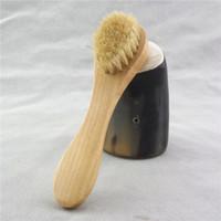 massagem para o rosto venda por atacado-Escova de limpeza facial para esfoliação facial Cerdas naturais de limpeza Escovas faciais para escovação a seco com cabo de madeira FFA2856