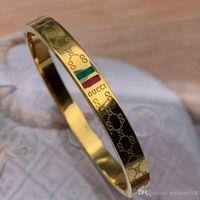 asiatische schmucksachen 18k goldarmbänder großhandel-NEU Deluxe Marken-Schmucksachen Edelstahl Pulseira Armband-Armbänder 18k Gold Silber Roségold grün rot-Armband für Frauen Männer plattiert