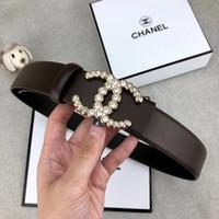 ingrosso disegni perla nera-Cintura donna di alta qualità delle signore di marca cintura moda personalità design in bianco e nero perla liscia fibbia cintura 3.4cm Commercio all'ingrosso di alta qualità