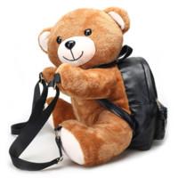 mochilas de berçário venda por atacado-45 CM presentes de natal para berçário bonito crianças mochila de pelúcia urso mochila de pelúcia para crianças mochila de pelúcia hasp bebê sacos brinquedos