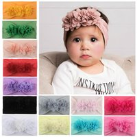 Baby Girl Kids Toddler Headband Lace Flower Hair Bow Band Accessories Solid Headwear Hairband Photo Props Gifts