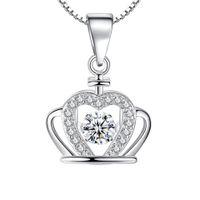 Wholesale red crown pendant necklaces resale online - New Arrival Austrian Crystal Crown Pendant Necklace with Silver Chain Women Choker Necklaces Romantic Wedding Love Pendant