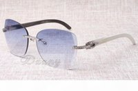 Wholesale 58 mm sunglasses resale online - Manufacturers selling frameless diamond sunglasses T8100905 high quality fashion sunglasses mixed horns glasses Size mm