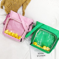 Wholesale pvc backpacks resale online - Fashion Transparent Jelly shoulder Bag Small Yellow Duck Decoration Messenger Bag Popular Summer Girl Plastic Tote Bag TTA468