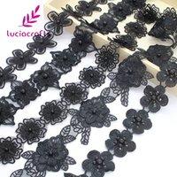 malzeme düzeltme toptan satış-Siyah Çiçek Nakış Dantel Kumaş Trim Kurdeleler Aplike Dikiş Elbise DIY Konfeksiyon El Yapımı Malzeme N0703 1y Lucia el sanatları
