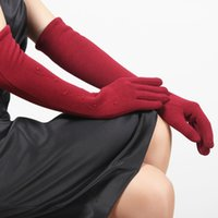mangas de braço feminino venda por atacado-Luvas de Veludo Lunhado Mulher Cuff Feminino Outono Inverno Cinco Luvas de Dedo Espessamento Quente Aquecedores de Manga Braço BL023N1
