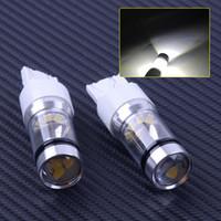 freios refletores led venda por atacado-2 pcs T20 7443 W21 / 5 W 3030 Branco Duplo Refletor Copo Lâmpadas LED Car DRL Brake Stop Lâmpada de Luz de Advertência