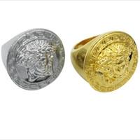 jóias de rua venda por atacado-Hip Hop Oversize Anéis Personalidade De Luxo Anel de Ouro Rodada Moda Estilo Street Men Anéis Partido Homens Marca Anéis Jóias
