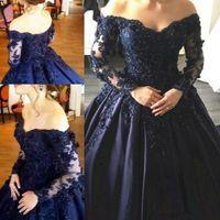 ingrosso madre blu fuori abiti da sposa-Elegante abito da sposa blu navy in madreperla con applicazioni di pizzo Abiti da ballo con maniche lunghe e abiti da cerimonia