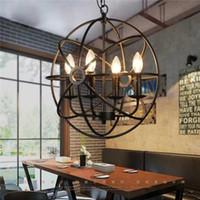 rustikale lampen großhandel-Industriebeleuchtung Vintage Pendelleuchte FOUCAULT ORB CHANDELIER RUSTIC IRON Gyro Loft Hotelcafé Bar Restaurant Pendelleuchte 50cm 65cm