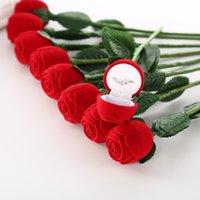 caixas de anel de rosa de veludo venda por atacado-Moda Rose Com Ramo Anel De Casamento Brinco Pingente de Exibição de Jóias Caixa de Presente Caixa De Veludo Vermelho adereços Mágicos