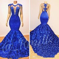Wholesale pictures flowers white roses resale online - Royal Blue Mermaid Prom Dresses Rose Flowers Long Chapel Train Sheer Neck Applies Beads K19 African Pageant Party Dress Evening Gowns