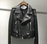 casaco de ovelha venda por atacado-jaqueta de couro marca para as mulheres estilo curto da moda couro locomotiva couro de ovelha jaqueta casaco para outono-inverno 2019