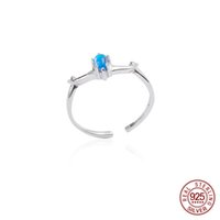 mavi taş gümüş yüzük toptan satış-100% 925 Ayar Gümüş Mavi Kristal Doğal Taş Boynuzları Açık Yüzükler Kadınlar Için Basit Moda Parti Takı zk40