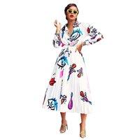 hüfthemd kleider großhandel-AUGE gedruckt 2 Stück T-Shirt Kleid 2019 Frauen Langarm V-Ausschnitt Bandage Plissee Casual Hip Hop Midi T-Shirt Kleid