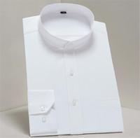 mandalina yaka stili elbise toptan satış-Erkek Katı Renk Gömlekler Uzun Kollu Mandarin Yaka İş Stil Homme Tişörtleri Slim Fit Moda Giyim