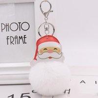 Wholesale new keychain designs for sale - Group buy New Design Winter Christmas Hair Ball Pom Pom Keychain Leather Santa Plush Key Chain Women Fashion Keyring Styles