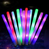 мигающий свет вверх пена палочки оптовых-LED Glow Стик мигающий свет Up Foam LED Палочки Радуга цвета LED Губка Палочки для 2019 Концерт Свадьба День рождения Xmas партии A21601