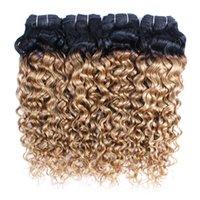 malezya saç fırsatları toptan satış-KISSHAIR T1B27 su dalga saç demetleri bal sarışın koyu kökleri ile 3/4 demetleri anlaşma bakire Brezilyalı Hint Perulu Malezya insan saçı