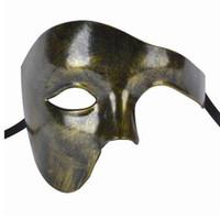 máscaras faciales de ópera fantasma al por mayor-Máscara de fiesta para hombre Venetion Cara media fantasma de la máscara de ópera Máscara de mascarada de carnaval guapo