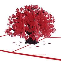 карта кленового листа оптовых-Производители питания стереофонические поздравительные открытки Клен День рождения Желание карты творческий подарок красный кленовый лист 3D карты на заказ оптом