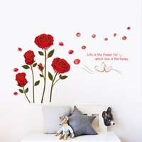 Wholesale wall decal sofa for sale - Group buy Romantic Red Rose Wall Sticker For Bedroom Living Room Sofa Background Home Decoration Mural Art Decals Flowers Wall Stickers