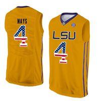 ingrosso pullover di basket usa-Mens Skylar Mays Jersey Custom LSU Tigers College Basketball Maglie Moda Bandiera USA di alta qualità cucita taglia S-XXL
