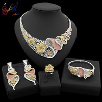 Wholesale bead sets jewellery resale online - Yulaili New Fashion Vintage Turkish Women African Beads Necklace Earrings Nigeria Wedding Jewelry Sets Dubai Crystal Jewellery