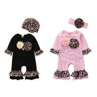 Wholesale princess hats for sale - Group buy 2pcs set Spring Leopard Floral Baby Romper Flower Girls Rompers Hats Headbands Princess Newborn Jumpsuit Outfits Kids girl clothes M1474