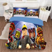 ingrosso piumino singolo 3d-Cartoon Game 2 / 3pcs gioco Roblox 3D Stampa di Double Bedding Kid letto singolo set copripiumino federa copertura UE camera Tessile