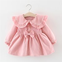 Wholesale baby girl corduroy dress resale online - Baby girl autumn and winter corduroy skirt long sleeve baby dress years old girl plus gas and princess dress