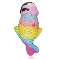 рыбы игрушки бесплатно оптовых-2019 Горячие Squishies Jumbo 20 * 12см Мороженое Рыба Медленный рост Ароматические ремешки для сотового телефона Сбросьте давление Медленный отскок Мягкая игрушка DHL Free