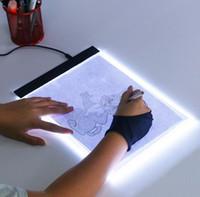 arte de la tableta al por mayor-A4 Tableta de dibujo USB digital Tabletas gráficas LED Cuadro de luz Seguimiento Tablero de copia Escritura de arte electrónico Pintura Pad de mesa DHL libre